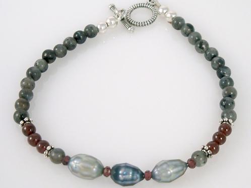 Larvikite, Freshwater Pearl, and Garnet Strand Bracelet, Black Labradorite Brace