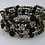Thumbnail: Boho Natural Garnet Nugget, Pyrite, and Pewter Memory Wire Wrap Bracelet, Januar