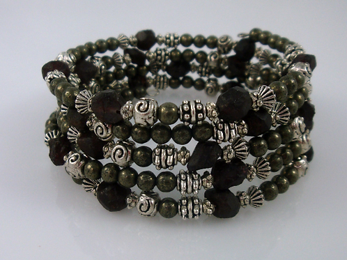 Boho Natural Garnet Nugget, Pyrite, and Pewter Memory Wire Wrap Bracelet, Januar