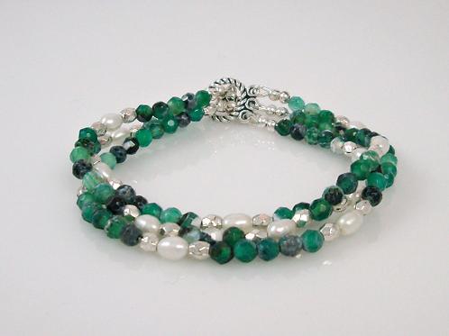 Green Fire Agate, Freshwater Pearl, Pewter Bead Bracelet, Green Bracelet, Fire A