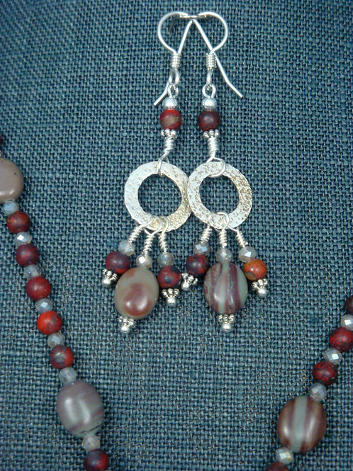 Red Picture Jasper and Frosted Labradorite Sterling Silver Earrings