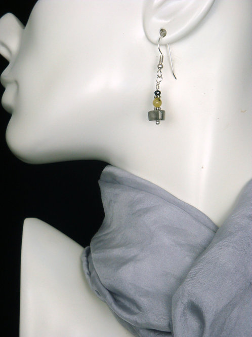 Sterling Rutilated Quartz, Ghost Quartz, and Spinel Earrings