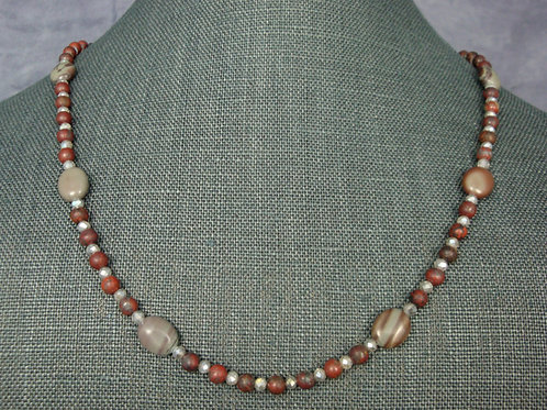 Red Picture Jasper and Frosted Labradorite Strand Necklace