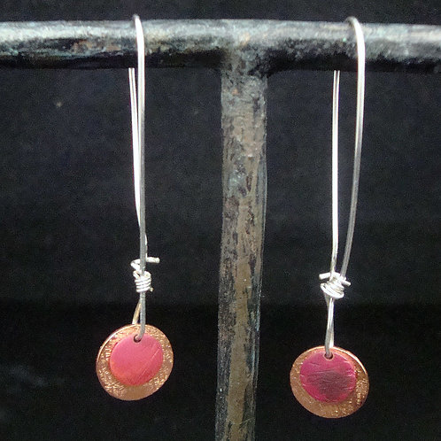 Flame Painted, Forged, an Textured Earrings with Sterling Wire