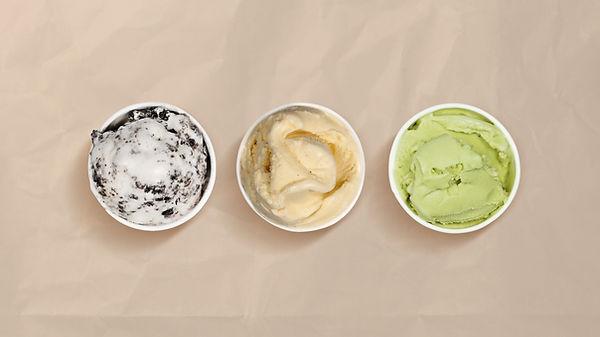 Três sabores de sorvete
