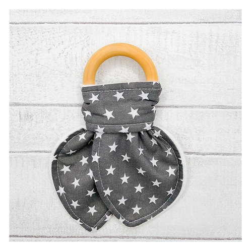 Grey Stars Teething Ring