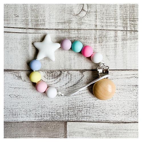 Pastel Rainbow Star Teething Dummy Chain