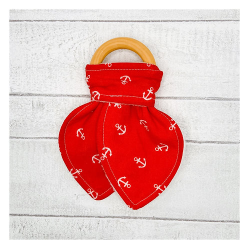 Red Anchors Teething Ring