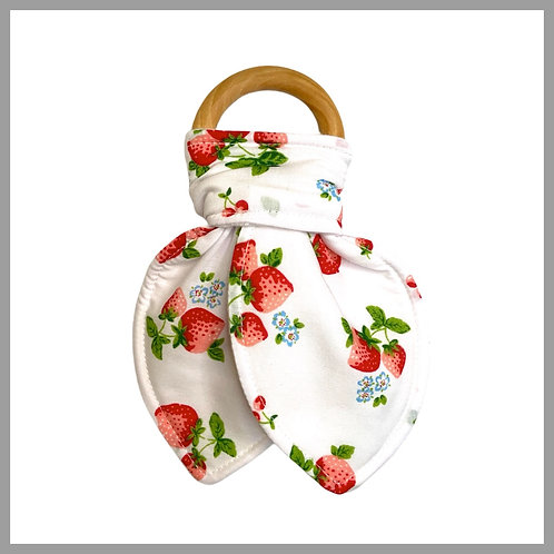 White Strawberry Love Teething Ring
