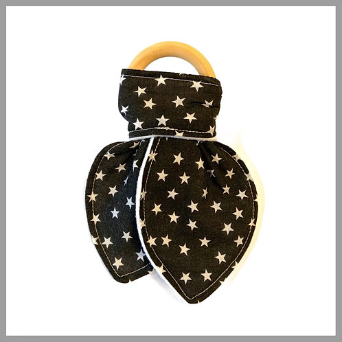 Mini Black Stars Teething Ring