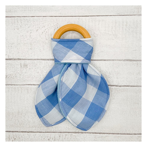 Blue Gingham Teething Ring