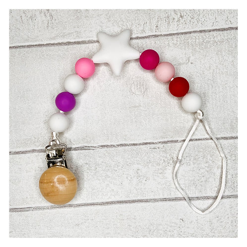 Pink Teething Dummy Chain