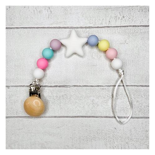 Pastel Rainbow Teething Dummy Chain