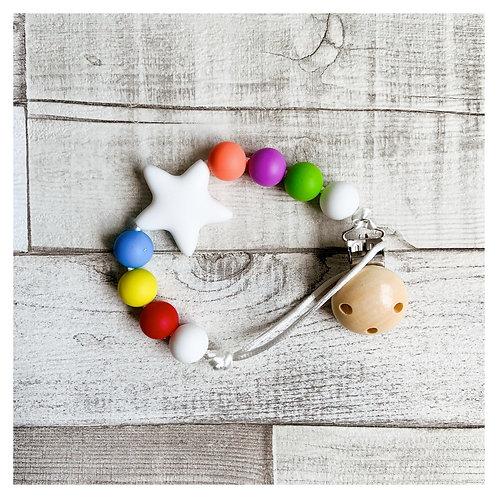Rainbow Star Teething Dummy Chain