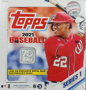Topps 2021 MLB Baseball Series 1 Mega Box 256 Cards. ROYAL BLUE PARALLELS
