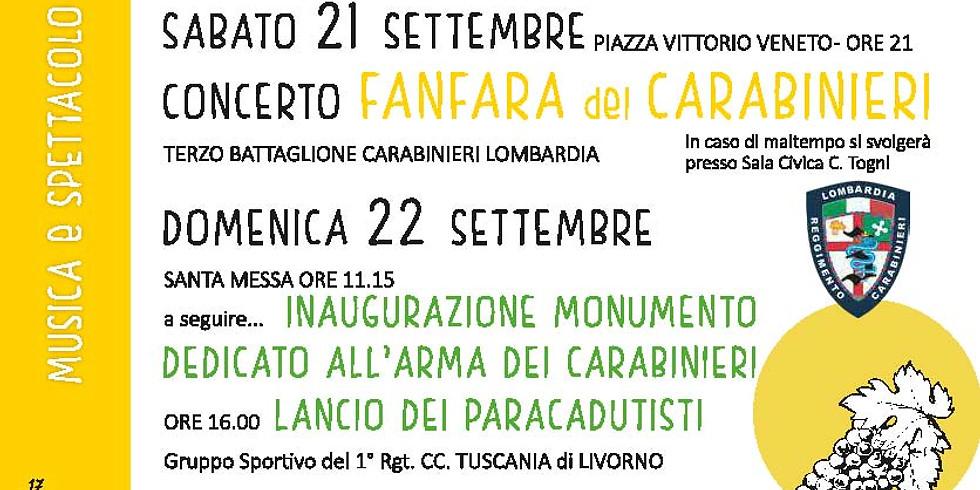 GUSSAGO 21 settembre concerto Fanfara del Carabinieri Lombardia di Milano