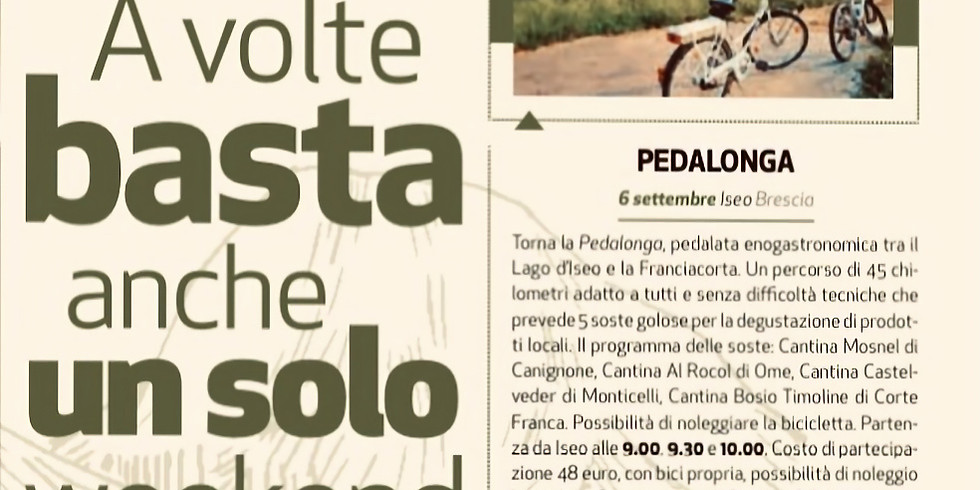Pedalonga 2020 - pedalata enogastronomica  tra il Lago d'Iseo e la Franciacorta.