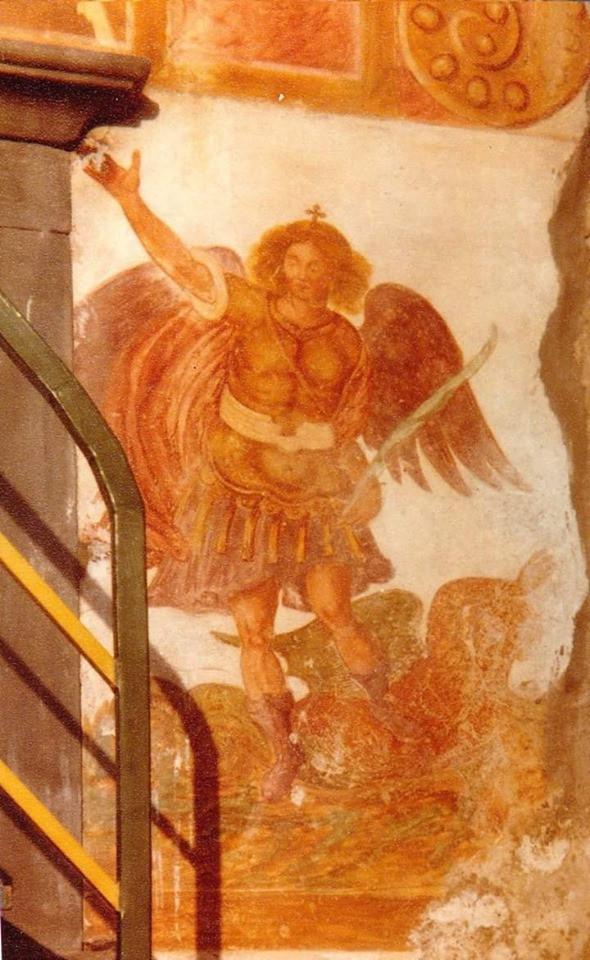 immagine del santo da un affresco di via Pozzo, andato miseramente distrutto nella ristrutturazione di un edificio.