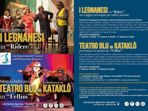 """Sarnico, """"Ridere"""" coi Legnanesi il 22 luglio ed emozionarsi con Fellini il 24 luglio"""