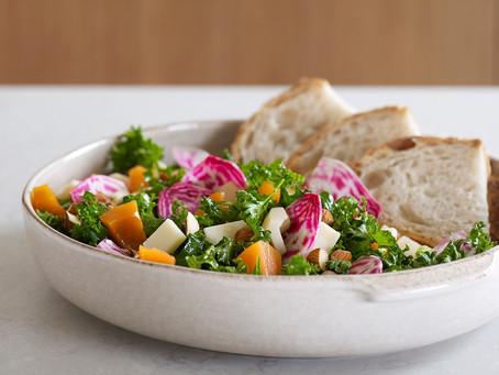 Grønnkålsalat med chèvre og syltede gresskar