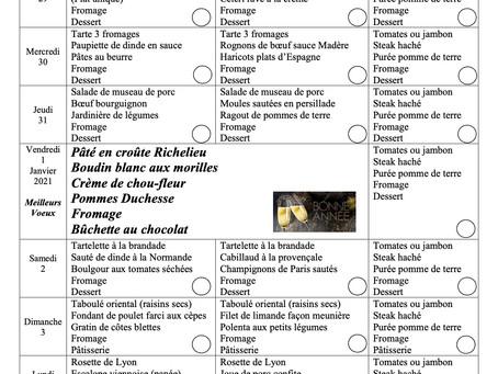 """Le menu de la semaine du 29 décembre au 4 janvier dont notre menu """" Fête du jour de l'an """""""