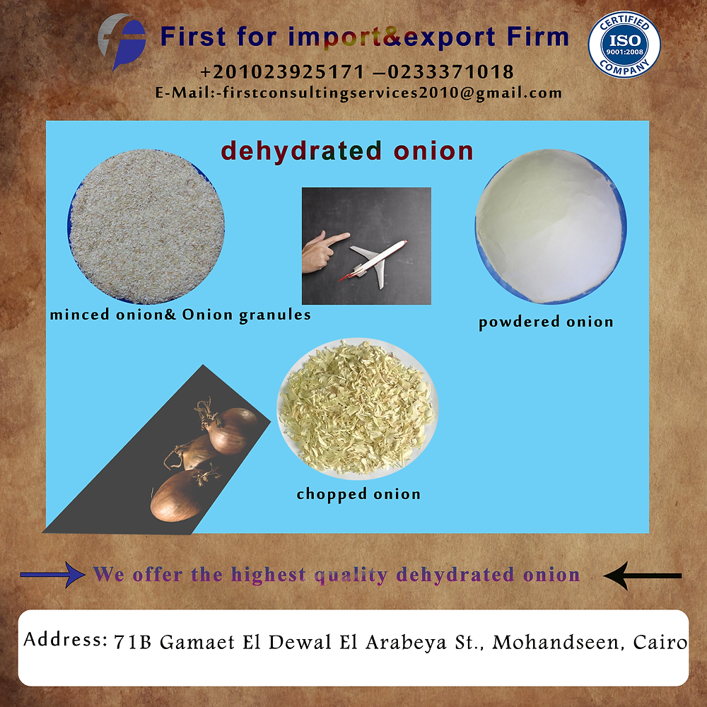 We offer the highest quality dehydrated onion in a wide variety of forms including chopped onion, Powder onion,minced onion& Onion granules.