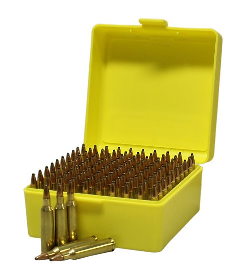 MAX-COMP AMMO BOX SMALL RIFLE100RND YELLOW FITS 204,222,223