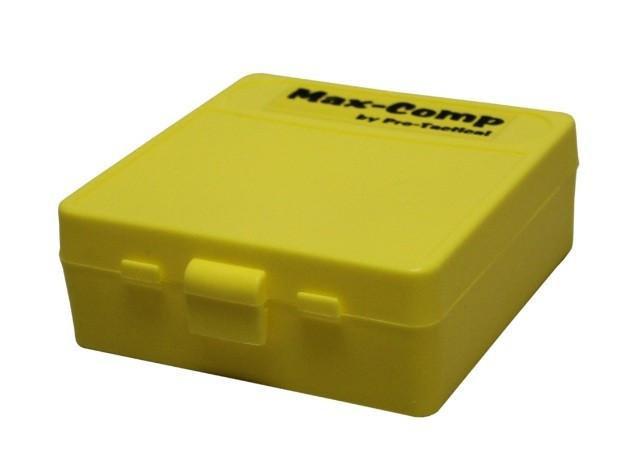 MAX-COMP AMMO BOX MED PISTOL 100RND YELLOW FITS 38SUPER 38SP