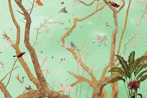 Sample of Mystic Garden Green wallpaper and Ecotex