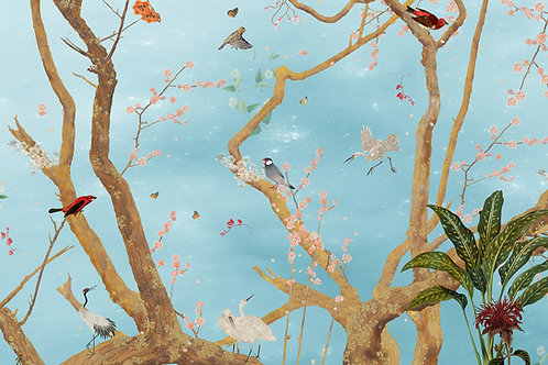 Staaltje Mystic Garden Blue behang en Ecotex