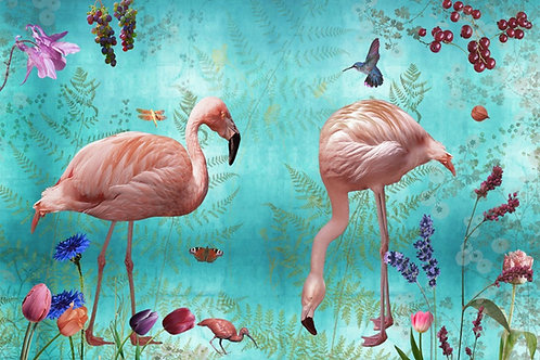 Sample of Audubon Blue wallpaper and Ecotex