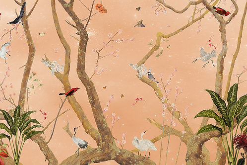 Sample of Mystic Garden Mandarin wallpaper and Ecotex