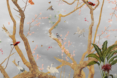 Sample of Mystic Garden Gray wallpaper and Ecotex