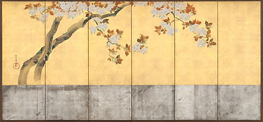 酒井抱一筆_桜図屏風-Blossoming_Cherry_Trees_MET_D