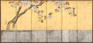 酒井抱一筆_桜図屏風-Blossoming_Cherry_Trees_MET_D