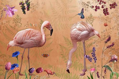 Sample of Audubon Mandarin wallpaper and Ecotex