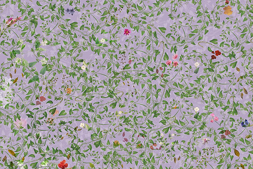 Sample of Swirling Lilac wallpaper and Ecotex