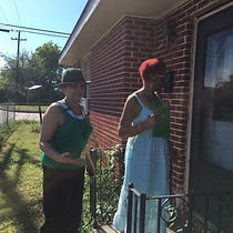 Cynthia and Galethea out in the neighbor
