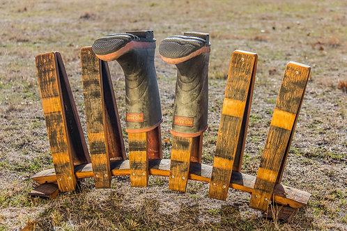 Wine Barrel Oak Three pair Gumboot Rack