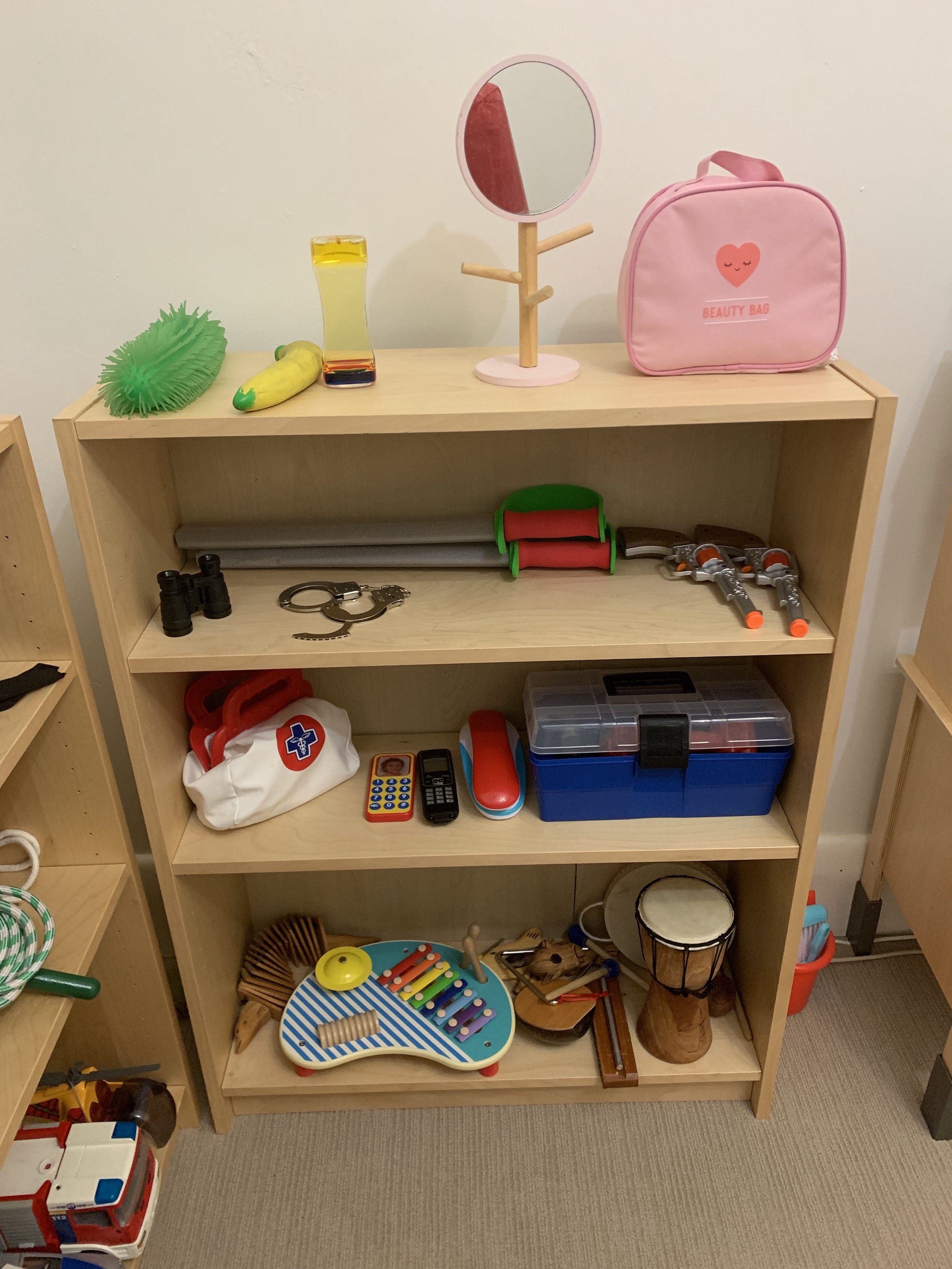 Sensory play, aggressive release, role play and music