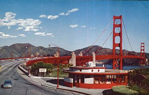 Round House Toll Plaza Golden Gate Bridge San Francisco CA postcard 1960s