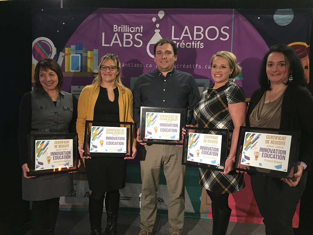 Labos créatifs a décerné des Prix de l'Innovation en éducation. Les 5 récipiendaires étaient