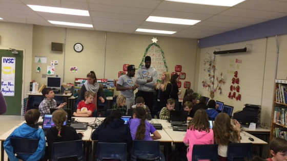 Saint John Riptide players teamed up with Island View students for coding event today