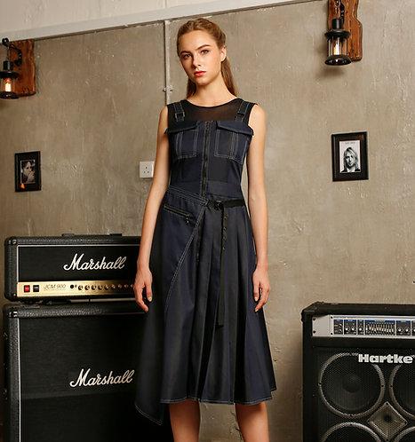 Paneled strap dress