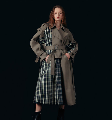 Checked-patched layer trench coat