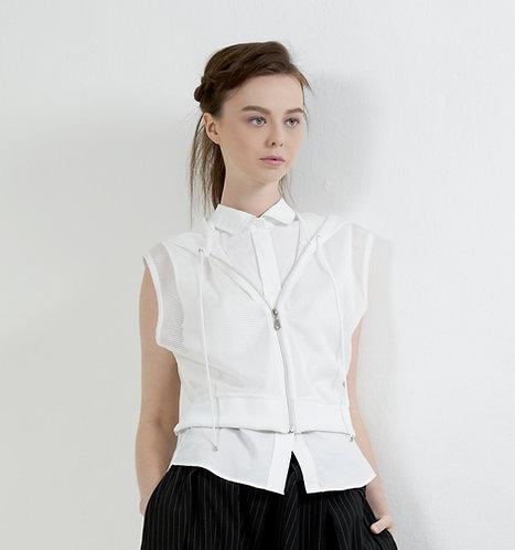 Shirt with sleeveless zip up hoodie