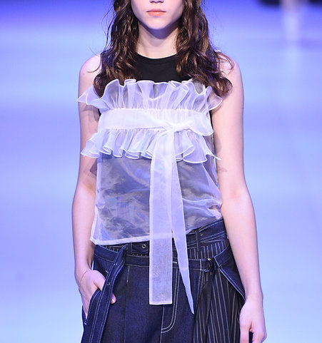 Strap ruffle top with vest