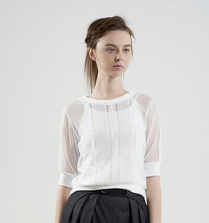 Lace-trim top with strap top