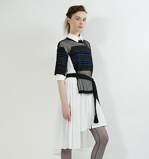 Asymmetric layered shirt dress