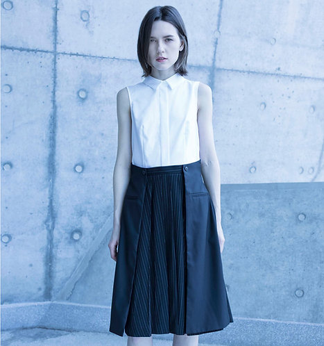 Patched-shirt pleated dress